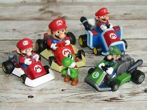 4 x Nintendo Super Mario Kart Toy Bundle  Mario Yoshi Luigi  Desk Toys  USED