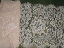 """3  yards 9 1/4"""" width with floral on both sides scroll dark primrose lace trim"""