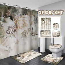 1/3/4pcs Roses Flower Bath Shower Curtain Bathroom Rugs Toilet Lid Sets Decor