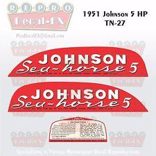 1951 Johnson 5 HP Decal Set Model TN-27 Outboard Reproduction 3 Pc Marine Vinyl