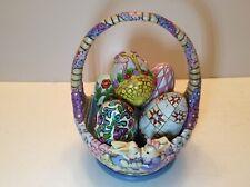 "Jim Shore Heartwood Creek ""Honey Bunny� Easter Basket With 5 eggs. #4023994"