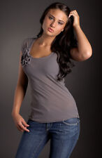 Sweet Pea Women's Nylon Mesh CapSleeve Top - Grey, Small