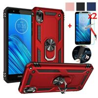 For Motorola Moto E6 Case Magnetic Metal Ring Stand Cover + HD Tempered Glass