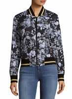 True Religion $229 Women's Dark Floral Cotton Bomber Jacket - W0VH112EVL Size M