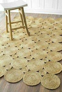 Rug 100% Natural Jute Braided Style Floor Rug Reversible Living Area Carpet Rug