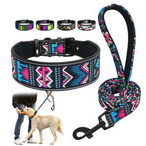 4/5cm Wide Dog Collar Leash Boho Floral Reflective for Medium Large Breeds Boxer