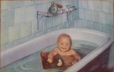 1951 Postcard: Baby in Bathtub w/Rubber Duck & Atomizer