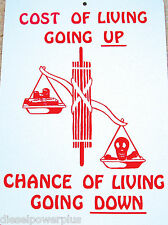 funny man cave sign plastic THE COST OF LIVING GOING UP.. CHANCE OF LIVING DOWN
