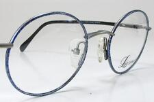 1980's Pewter Blue Oval Metal Retro Vintage Eyeglass Frame France Spring Hinge