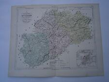 Carte 19° 1852  couleur atlas Malte brun Département de Haute Saône plan Vezoul