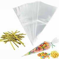100PCS Cello Bags Cone Bags Birthday Party  Clear Colour Treat Bag Sweets Favour