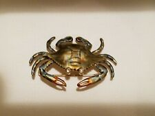 blue enamel, beautiful unique Gift Now 14K Gold Crab Pin brooch *Diamond eyes,