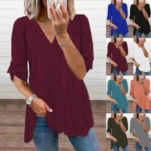 Womens Chiffon Holiday Ladies Long Sleeve Loose Blouse Shirt Tee Strappy Tops UK