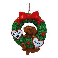 PERSONALIZED Dog Ornament Cute Dachshund Puppy Christmas Wreath Ornament Holiday