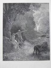 Milton's Paradise Lost Gustave Dore Antique Print C. 1870 (116) Adam Eve Angel