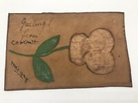 Antique Leather Postcard c1907 Greetings From Crockett California