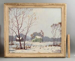Antique JAMES TOPPING Illinois Winter Snow Landscape Oil Painting Carved Frame