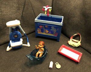 Barbie I Can Be A Caregiver Baby Nursery swing pack n play Accessories RARE