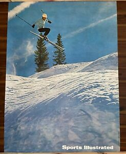 "Vintage 1960s Sports Illustrated Snow Ski Skiing Poster 19.5"" x 27"""