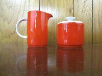 Royal Doulton Fine China Orange and White Creamer and Sugar Bowl