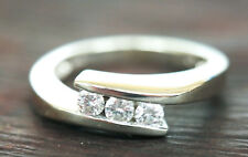 Womens Genuine 14K White Gold 0.33 TDW Diamond Ring - Size 6