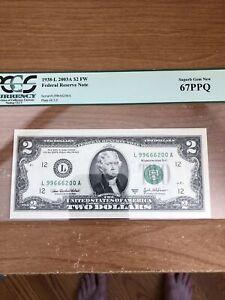Error Error Bill 2003A $2 FW Federal Reserve Note Plate#E3/2