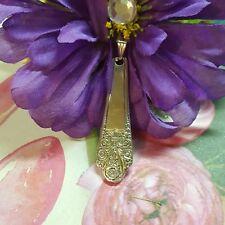 vtg ANTIQUE SPOON Necklace  sterling silver plate pendant flower precious 1941