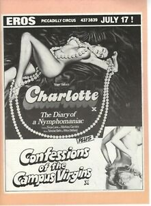 A4 Advert Charlotte 1974 Roger Vadim Sirpa Lane Confessions of  Campus Virgins
