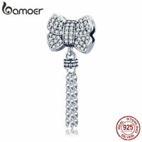 BAMOER S925 Sterling Silver Charm Bowknot  Dangle With CZ Fit bracelets jewelry