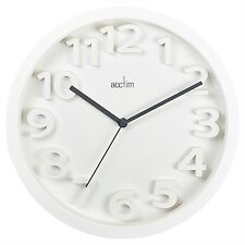 """Acctim White Contemporary Wall Clock 13.1/2"""" x 1.3/4"""" ** PURCHASE YOURS **"""
