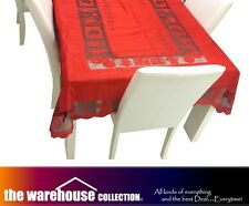 SET OF 2! RED CHRISTMAS XMAS TABLE CLOTH 150x230cm 6-8 SEAT RECTANGLE TABLECLOTH