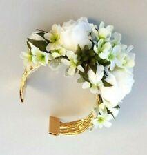 White Rose Silk Flower Corsage - Gold Alloy Cuff Bracelet, Wedding Wrist Corsage