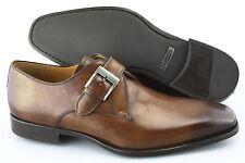 Men's MAGNANNI 'Tudanca' Brown Monk Strap Leather Loafers Size US 10.5 - D