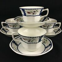 Set of 4 Flat Cups and Saucers Adams Lancaster English Ironstone Floral England