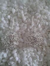 große Kugel Ohrringe Ohrhänger Silber Draht Geflecht Metall filigran Muster