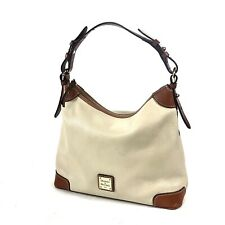 Dooney and Bourke Erica Hobo Bag Hand Bag Pebbled Leather Cream Brown Hang Tag