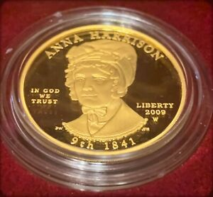 "2009 $10 ""First Spouse Pure Gold Proof US Coin"" ""Anna Harrison"""