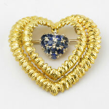 Vintage TIFFANY & CO 18K Italian Yellow Gold with Sapphires Brooch Pin RARE