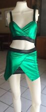 New Ladies Sexy Green Metallic Vinul Uniform Fancy Dress Costume Outfit 8-10