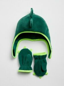 GAP Baby Fleece Trapper Hat & gloves / mittens Set dynosaur dragon 0-6m n4 nnn