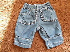 NEXT BABY GIRLS DENIM JEANS WITH PINK TRIM UP TO 3 MONTHS