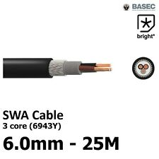 25M  6 mm²  6943X 3 core SWA Steel Wire Armoured Cable BASEC Outdoor Exterior