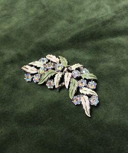Vintage Brooch Enamel Glass 1950s Aurora Borealis Green Cream Floral Jewellery