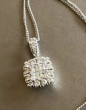 Ernest Jones 9ct White Gold Halo Cluster Diamond Necklace 0.50ct Square Half Ct