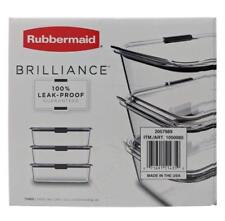 Rubbermaid Brilliance 100% Leak-Proof Three Large Containers 9.6 Cups 3 Pack