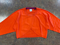 cabi 5008 womens orange 3/4 sleeve double button front cropped cardigan size M