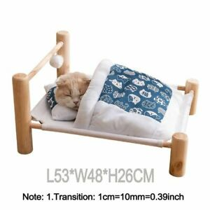 Wooden Pet Cat Bed Removable Sleeping Bag Puppy Soft Warm Small Dogs Sofa