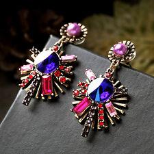 Boucles d`Oreilles Clous Chandelier Multicolore Perle Violet Rouge Vintage BB 8