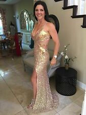 $389 NWT NUDE/GOLD PRIMAVERA SEQUINED PROM/PAGEANT/FORMAL DRESS/GOWN 9811 SZ 2