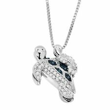 1/5 ct Teal & White Diamond Mother & Baby Turtle Pendant in Sterling Silver